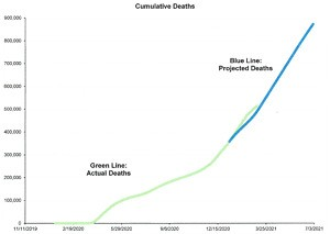 Fig 1. Cumulative deaths from beginning of the pandemic and projected from beginning of 2021 in the USA
